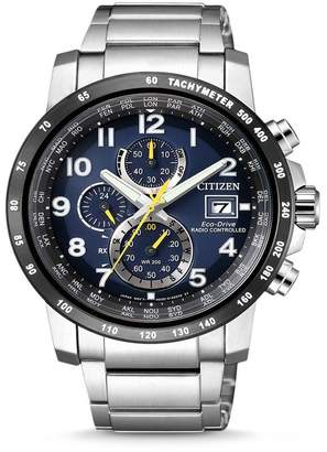 Citizen Men's Eco-Drive Global Radio Controlled Chronograph Stainless Steel Watch, 43mm