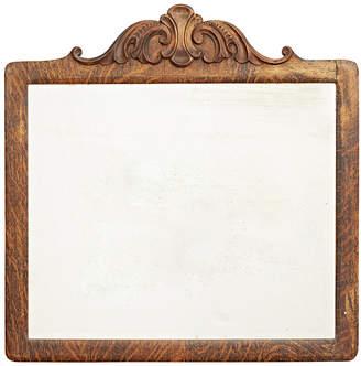 Rejuvenation Oak Framed Beveled Wall Mirror w/ Carved Crest