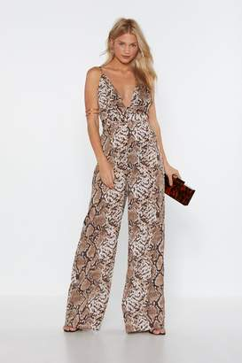 Nasty Gal Snake Care of Yourself Wide-Leg Jumpsuit