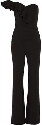Rebecca Vallance Sophia Ruffled One-shoulder Crepe Jumpsuit - Black