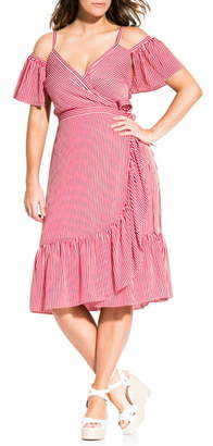 City Chic Riviera Stripe Cold Shoulder Wrap Dress