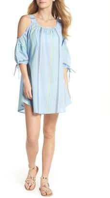 Echo Sunset Stripe Cold Shoulder Cover-Up Dress