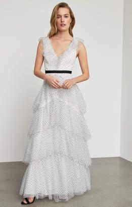 BCBGMAXAZRIA Flocked Dot Ruffle Shoulder Gown