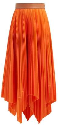 Loewe High Rise Pleated Handkerchief Skirt - Womens - Orange