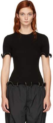 Alexander Wang Black Ruffle Zipper T-Shirt