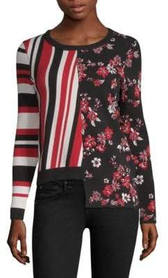Milly Twilight Floral Striped Top