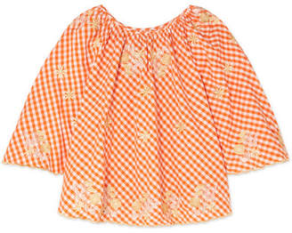 Innika Choo - Smocked Embroidered Gingham Cotton Top - Orange