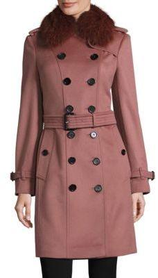 Burberry Sandringham Fox Fur-Trimmed Coat $2,495 thestylecure.com