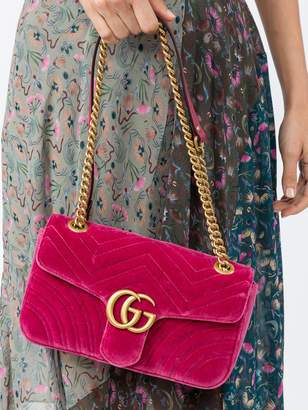 Gucci Gg marmont chevron velvet shoulder bag