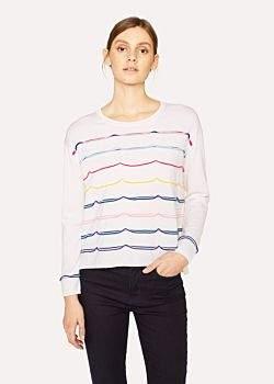Paul Smith Women's Cream Knitted Ribbon Wool Sweater