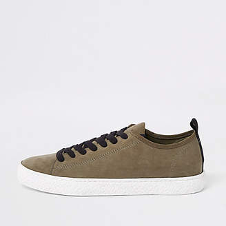 River Island Dark green textured sole lace up sneaker
