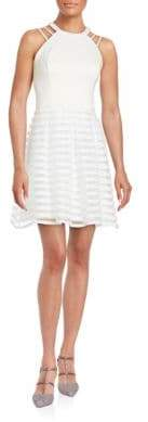 GUESS Striped Halter Fit-and-Flare Dress