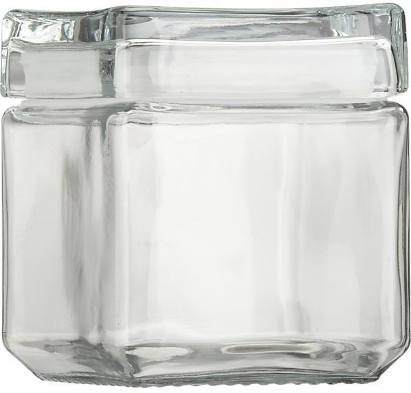 Crate & Barrel Small Stackable Glass Storage Jar