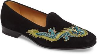 Gucci Dragon Embroidered Suede Loafer