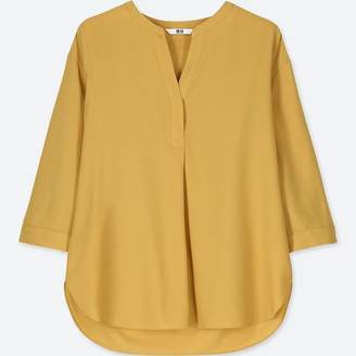 Uniqlo WOMEN Rayon Skipper Collar 3/4 Sleeve Blouse