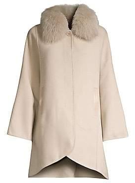 04877d38089f Elie Tahari Women s Home Fox Fur Collar Wool-Blend Coat