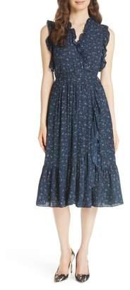 Kate Spade Wild Roses Ruffled Wrap Dress