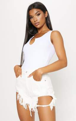 PrettyLittleThing White Distressed Denim Shorts