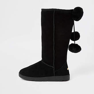 River Island Black suede faux fur pom pom boots