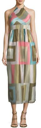 RED Valentino Check-Print Silk-Blend Organza Halter Dress