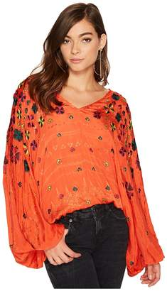 Free People Music in Time Embroidered Top Women's Clothing