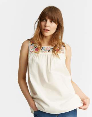 Joules Clothing Carlie Sleeveless Top with Embroidered Panel