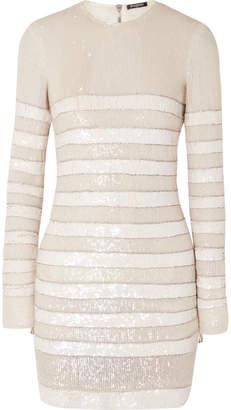 Balmain Striped Sequined Crepe Mini Dress - White