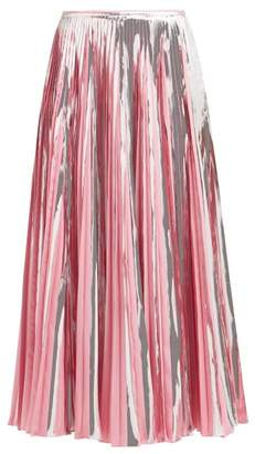 Marni Striped Pleated Midi Skirt - Womens - Pink Multi