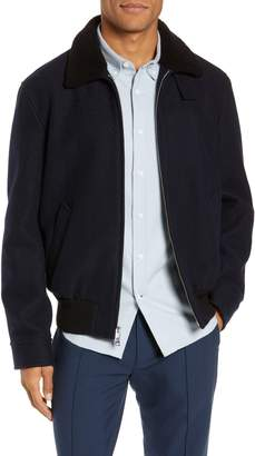 Club Monaco Trim Fit Bomber Jacket with Genuine Shearling Collar