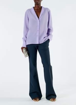 Tibi Lightweight Wool Crepe Shawl Collar Shirt