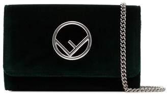 Fendi green logo velvet wallet on chain