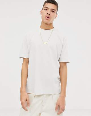 Asos loose fit t-shirt in putty soft cotton with double neck rib