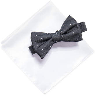 Alfani Men's Abstract Geometric & Dot Pre-Tied Bow Tie & Solid Pocket Square Set, Created for Macy's
