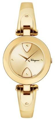 Salvatore Ferragamo Gilio Goldtone Stainless Steel Bangle Bracelet Watch
