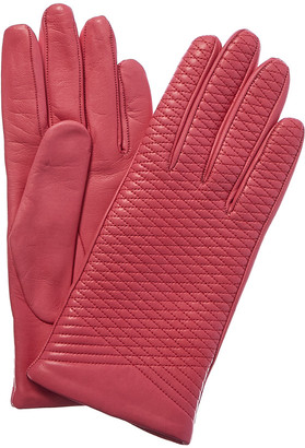 Portolano Women's Candy Pink Leather Gloves