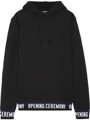 Opening Ceremony Ribbed Knit-trimmed Cotton-fleece Hooded Top - Black