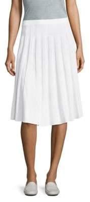 St. John Pleated Wool-Blend Skirt