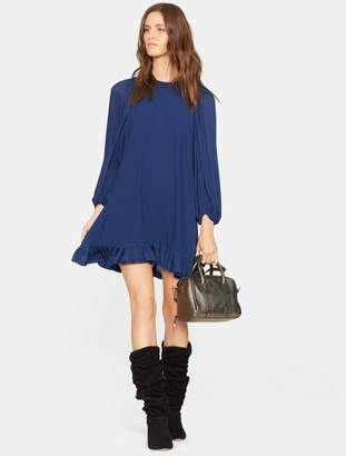 Halston Blouson Sleeve Ruffle Hem Dress