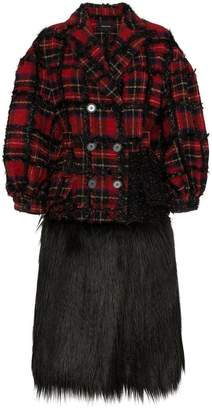 Simone Rocha tartan faux fur alpaca wool-blend coat