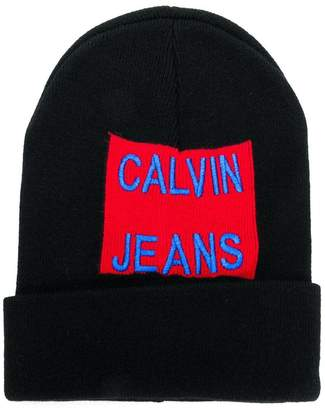 CK Calvin Klein logo embroidered beanie