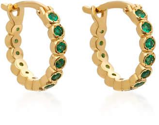 Octavia Elizabeth Chloe 18K Gold Emerald Hoop Earrings