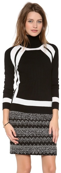 Milly Colorblock Turtleneck Sweater