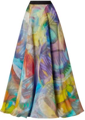 Naeem Khan Grosgrain-trimmed Printed Silk-organza Maxi Skirt - Blue