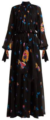 MSGM Floral Print Chiffon Maxi Dress - Womens - Black Multi