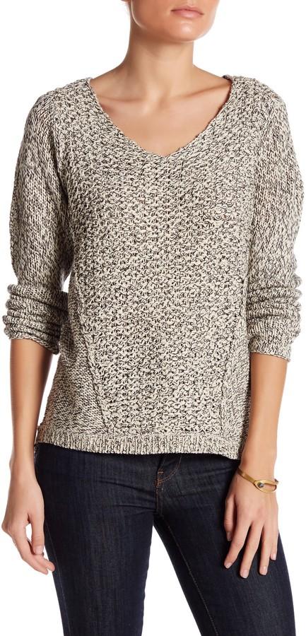 RESEARCH & DESIGN Scoop Neck Mixed Stitch Hi-Lo Sweater (Petite) 2