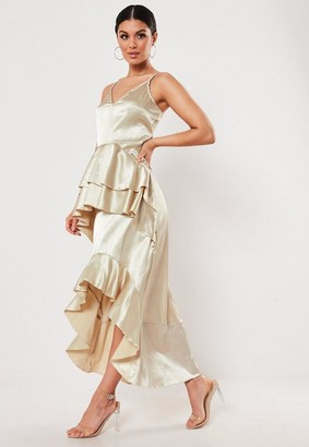 Missguided Gold Satin Frill Cami Maxi Dress