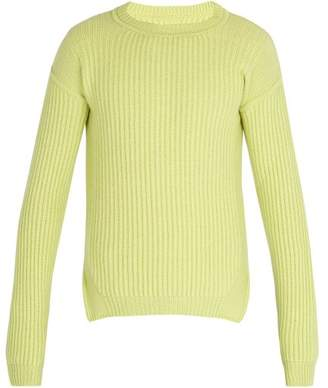 Rick Owens Fisherman Ribbed Knit Wool Sweater - Mens - Yellow