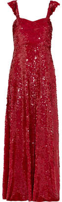 Valentino Paillette-embellished Silk-georgette Gown - Red