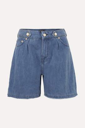 Mother of Pearl Net Sustain Dyllan Faux Pearl-embellished Frayed Organic Denim Shorts - Mid denim