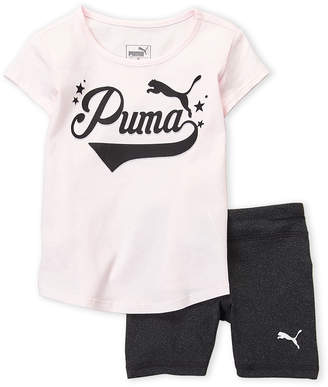 Puma Toddler Girls) Two-Piece Logo Tee & Biker Shorts Set
